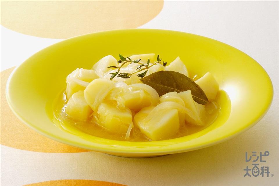 じゃがいものバターコンソメレンジ煮(じゃがいも+玉ねぎを使ったレシピ)