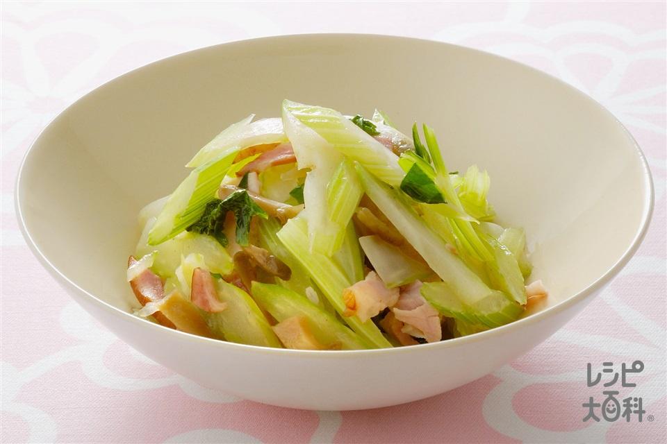 セロリとハムのザーサイ炒め(セロリ+ロースハムを使ったレシピ)