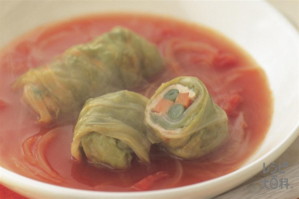 豚薄切り肉とスティック野菜のロールキャベツ トマト味