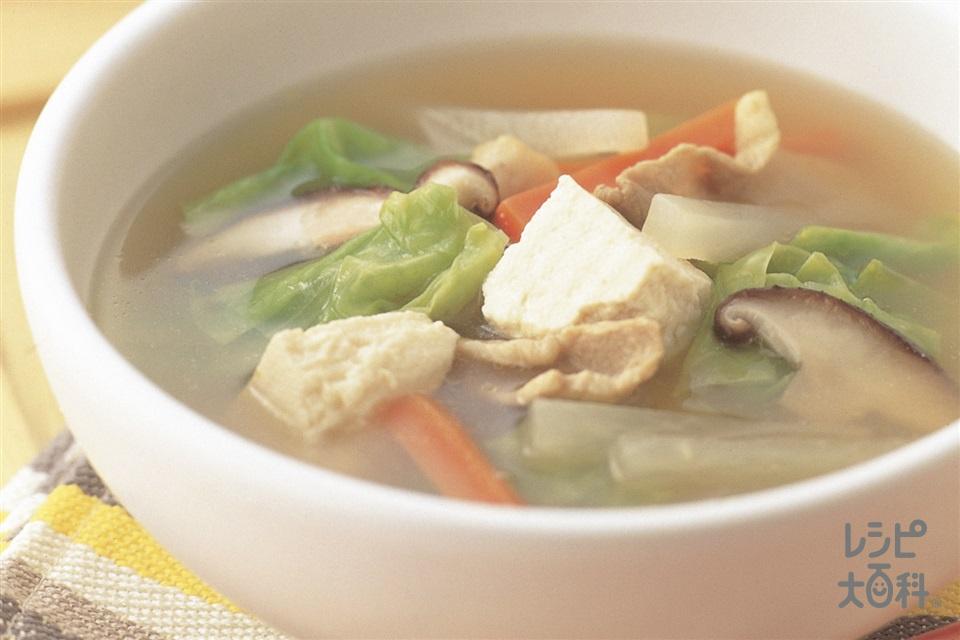 根菜と豚肉の具だくさん汁(大根+木綿豆腐を使ったレシピ)