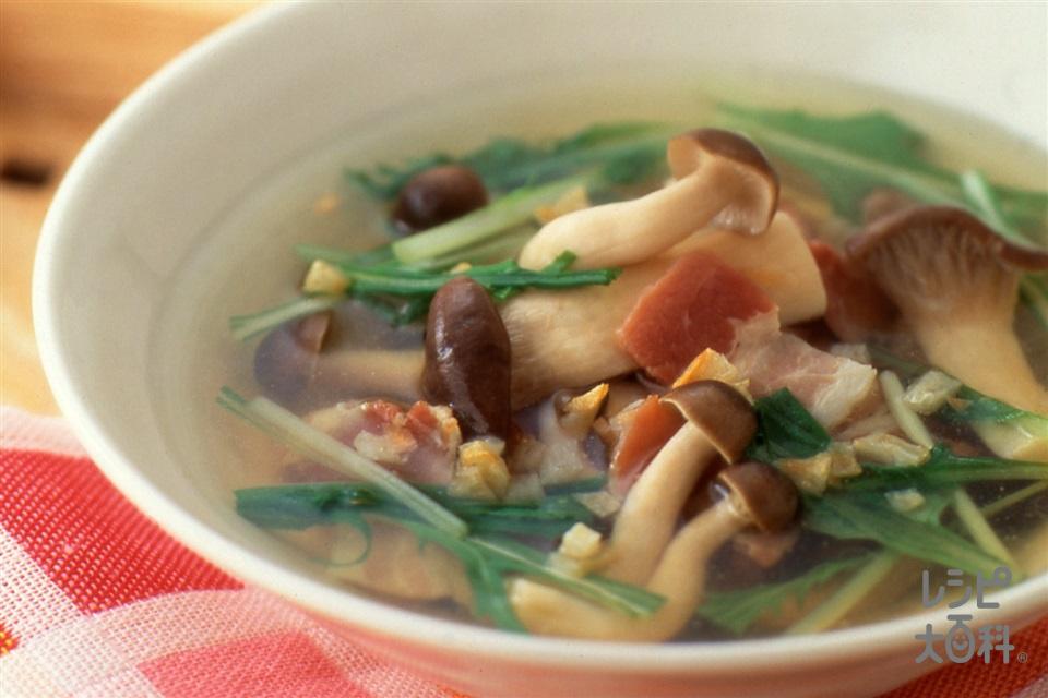たっぷりきのこと水菜のスープ