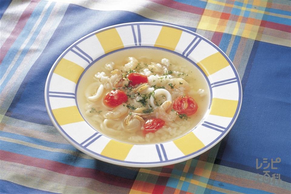 シーフードとプチトマトのスープリゾット(シーフードミックス+ご飯を使ったレシピ)