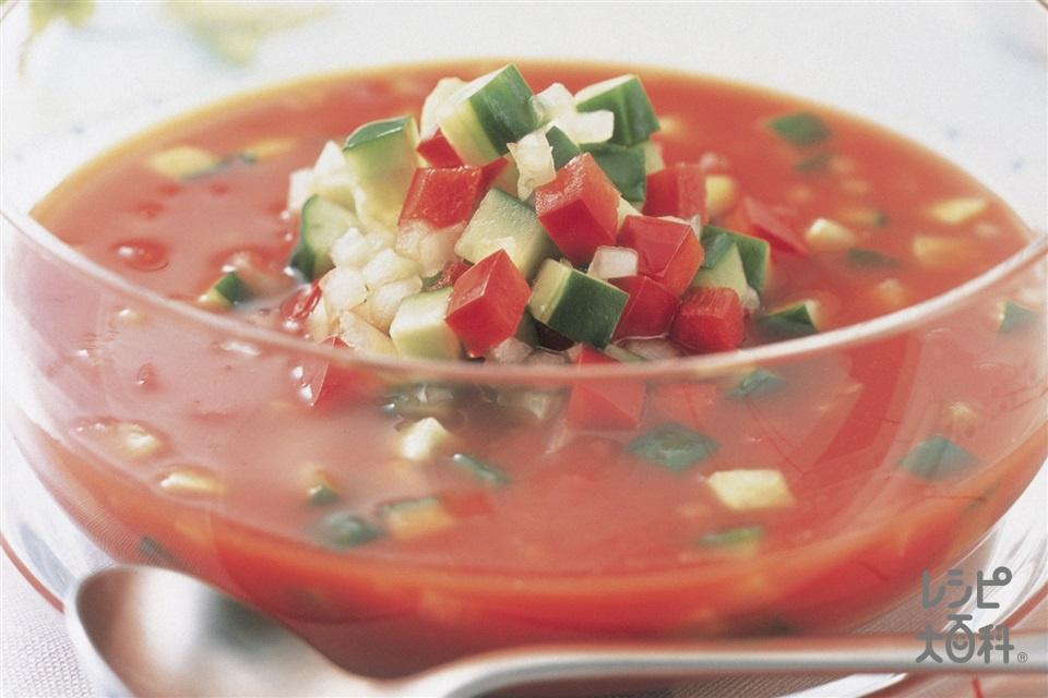 赤ピーマンときゅうりのサラダスープ(きゅうり+野菜ジュースを使ったレシピ)