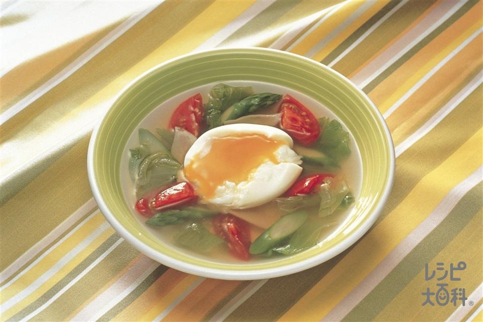 半熟たまごと野菜のまろやかスープ(トマト+卵を使ったレシピ)