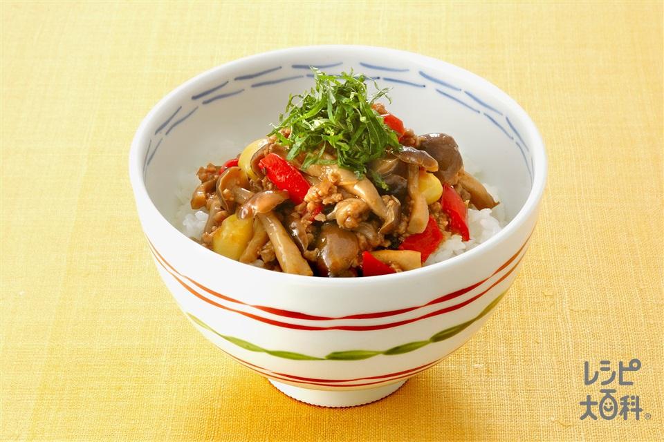 しめじ入り肉みそ丼(豚ひき肉+しめじを使ったレシピ)