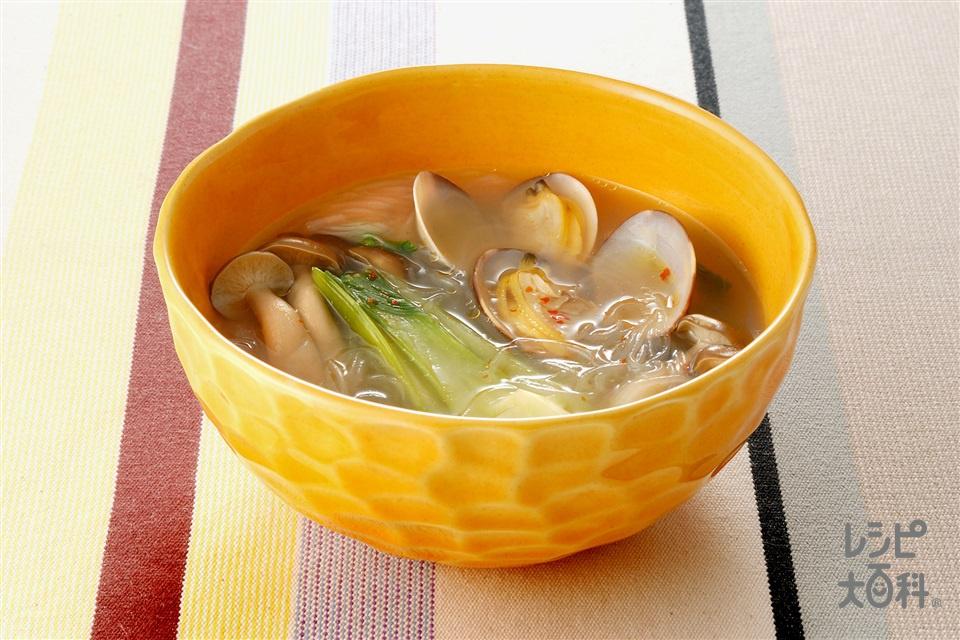 しめじとあさりの春雨辛味スープ(しめじ+春雨を使ったレシピ)