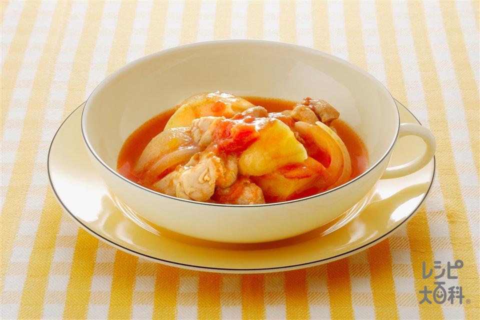 じゃがいもと鶏肉のトマト煮(じゃがいも+カットトマト缶を使ったレシピ)
