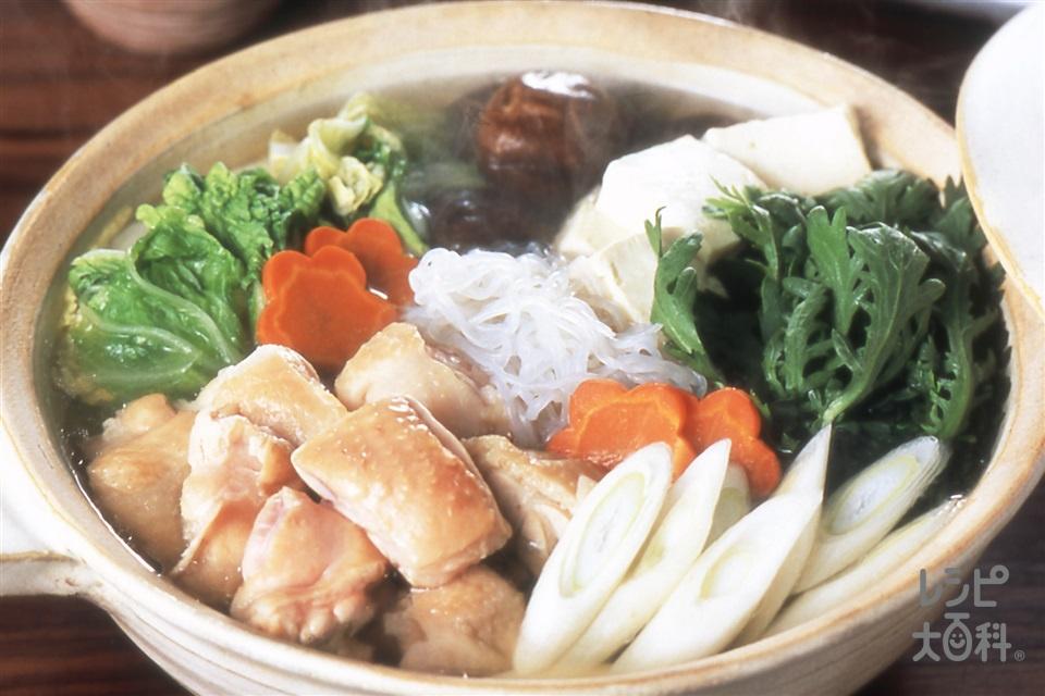 水炊き風鍋(鶏もも肉+白菜を使ったレシピ)