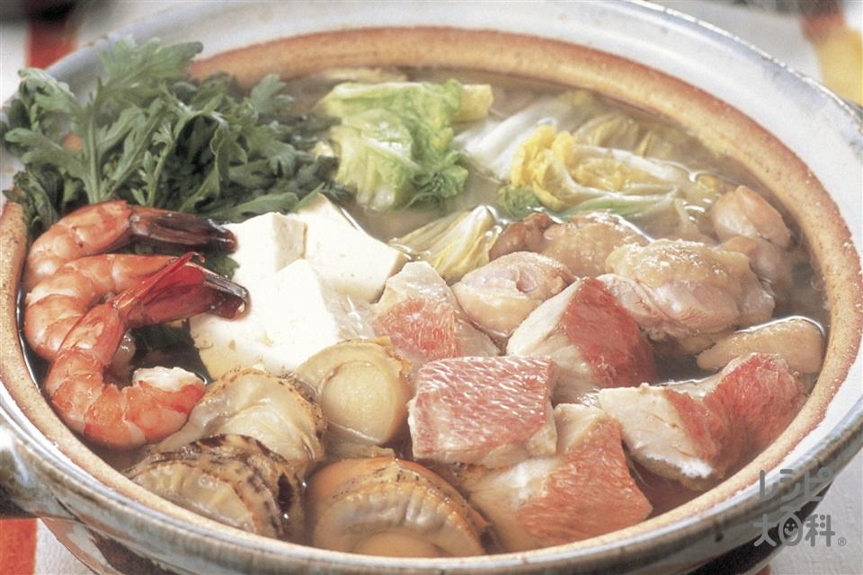 海鮮鍋(白身魚+ボイル帆立貝柱を使ったレシピ)