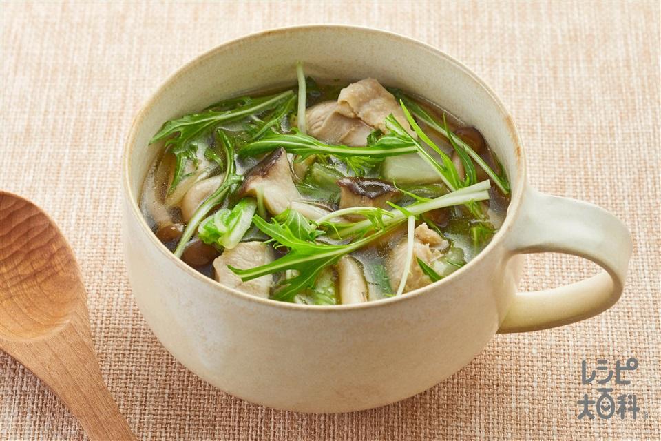 2種のきのこと水菜のおかずスープ(エリンギ+しめじを使ったレシピ)