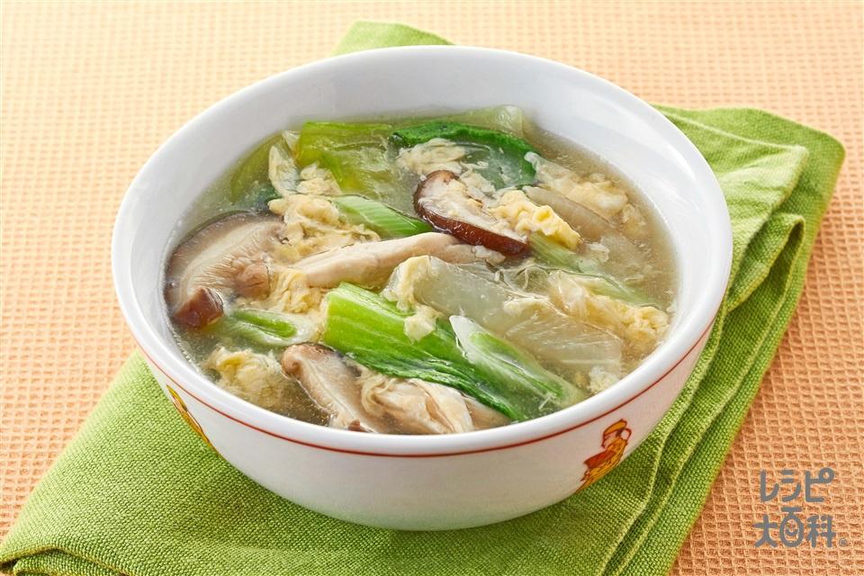 きのこと鶏肉のとろみ卵スープ(鶏ささ身+大根を使ったレシピ)