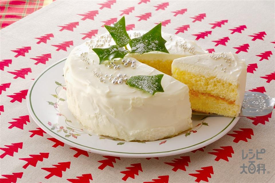 スノーケーキ(スポンジケーキ+黄桃缶を使ったレシピ)