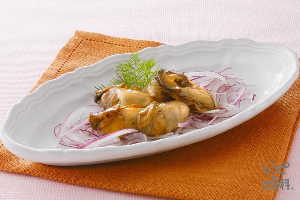 かきのオイル漬け(かき+紫玉ねぎを使ったレシピ)