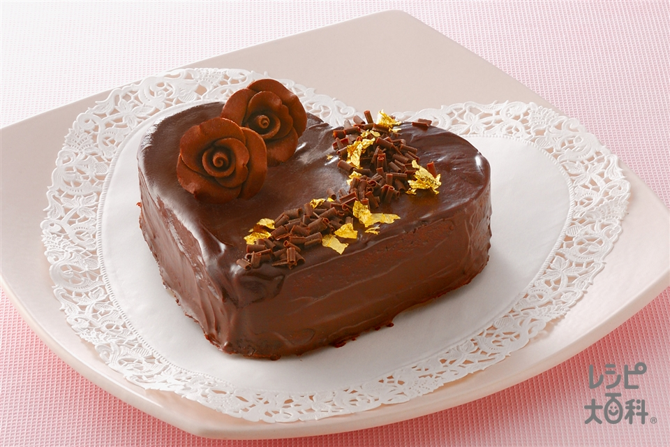 ハートチョコレートケーキ(薄力粉+卵を使ったレシピ)
