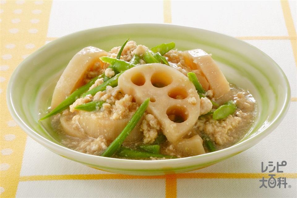 れんこんと鶏そぼろの甘辛煮(れんこん+鶏ひき肉を使ったレシピ)