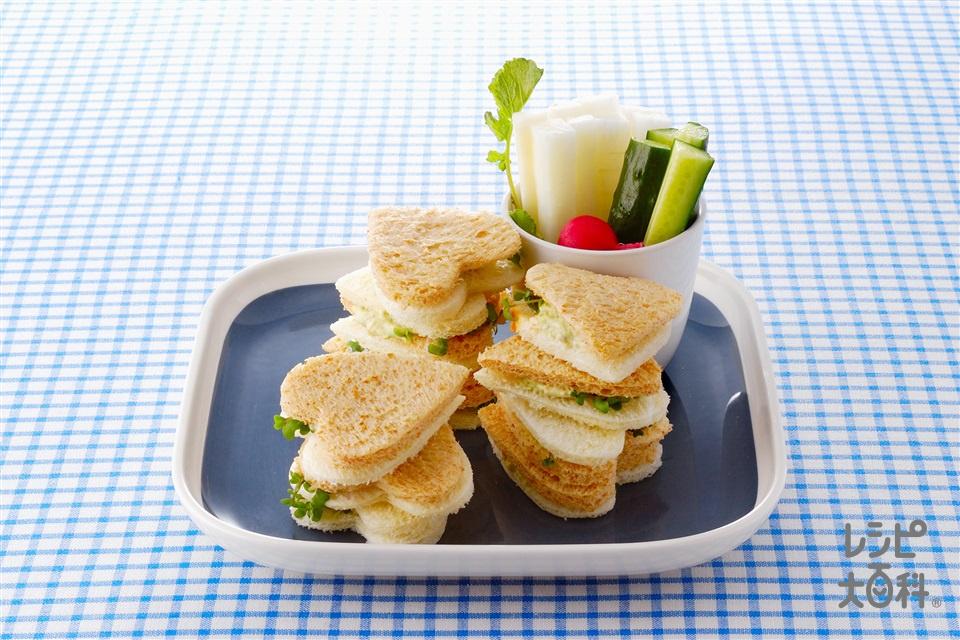 ハートのミニサンド&スティック野菜(サンドイッチ用食パン+を使ったレシピ)