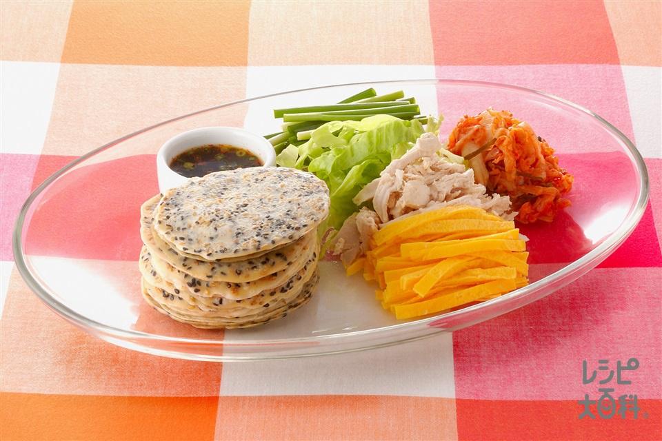 韓国風ごまクレープのお好みロール (卵+鶏むね肉を使ったレシピ)
