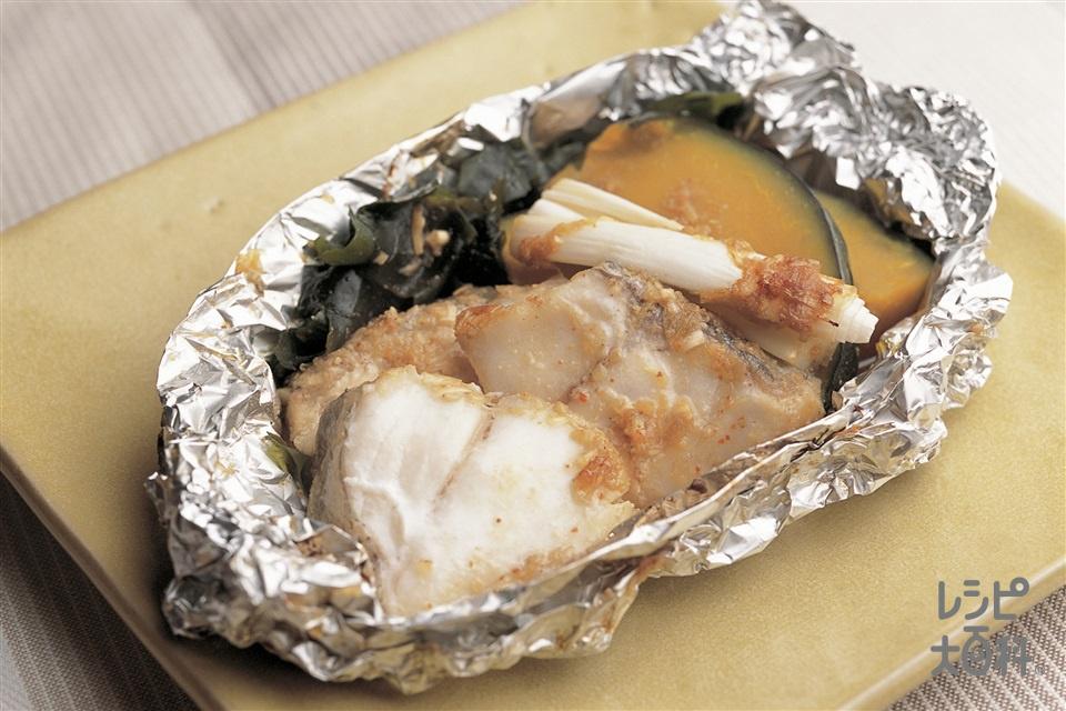たらとわかめの韓国風ホイル焼き(たら+かぼちゃを使ったレシピ)
