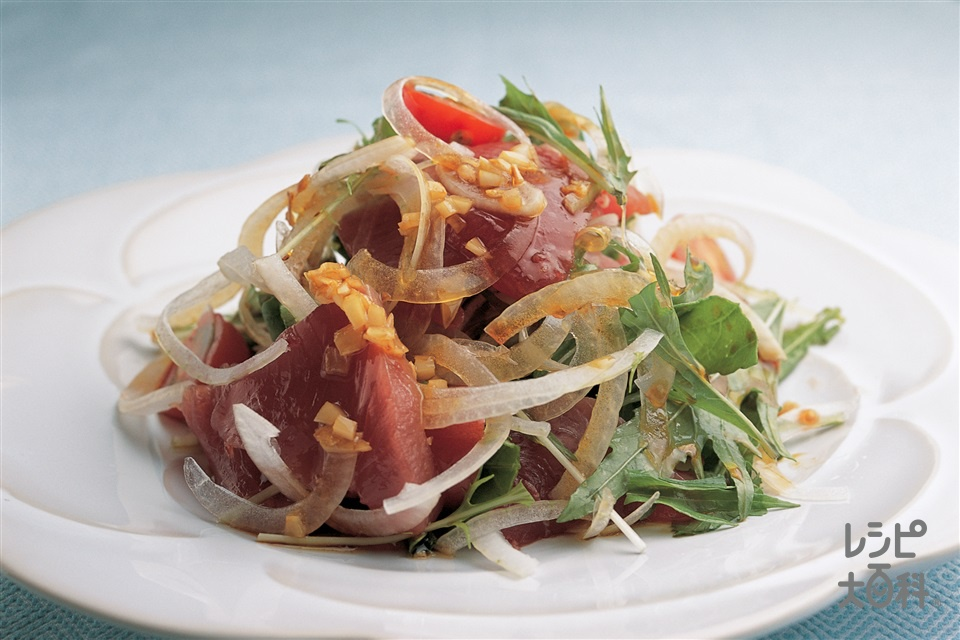 かつおの刺身サラダ(かつお(刺身)+ルッコラを使ったレシピ)