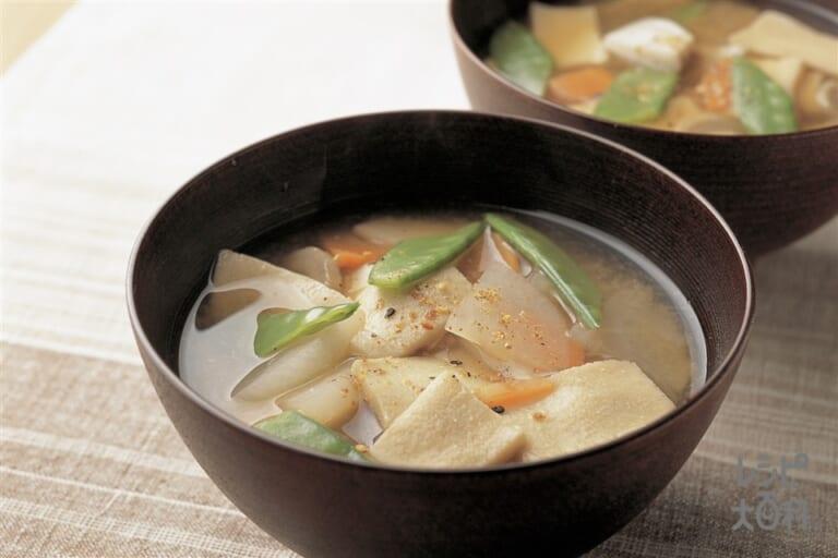 高野豆腐と根菜汁