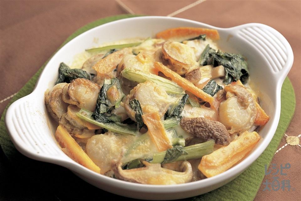 帆立と野菜のマヨネーズチーズ焼き(ボイル帆立貝柱+しょうゆを使ったレシピ)