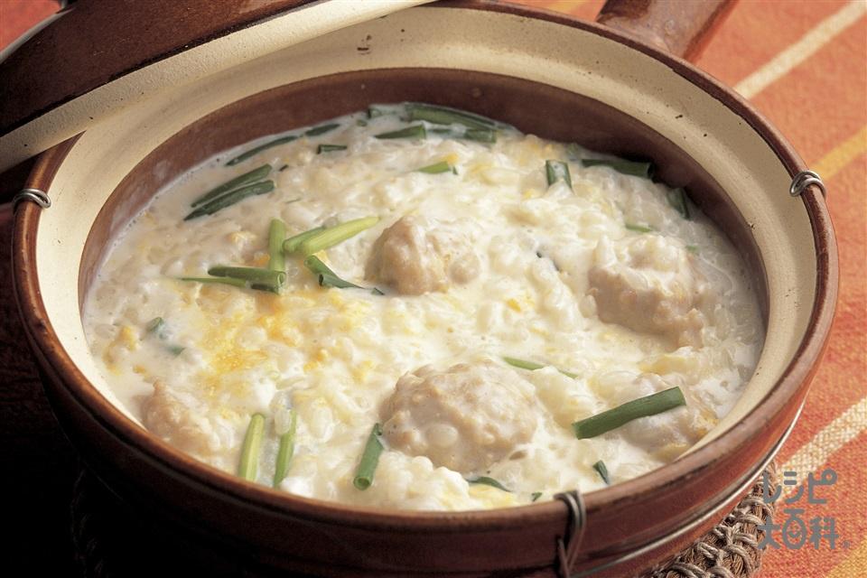 親子ミルクがゆ(鶏ひき肉+A酒を使ったレシピ)