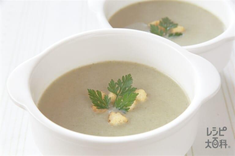 モロヘイヤと豆乳スープ
