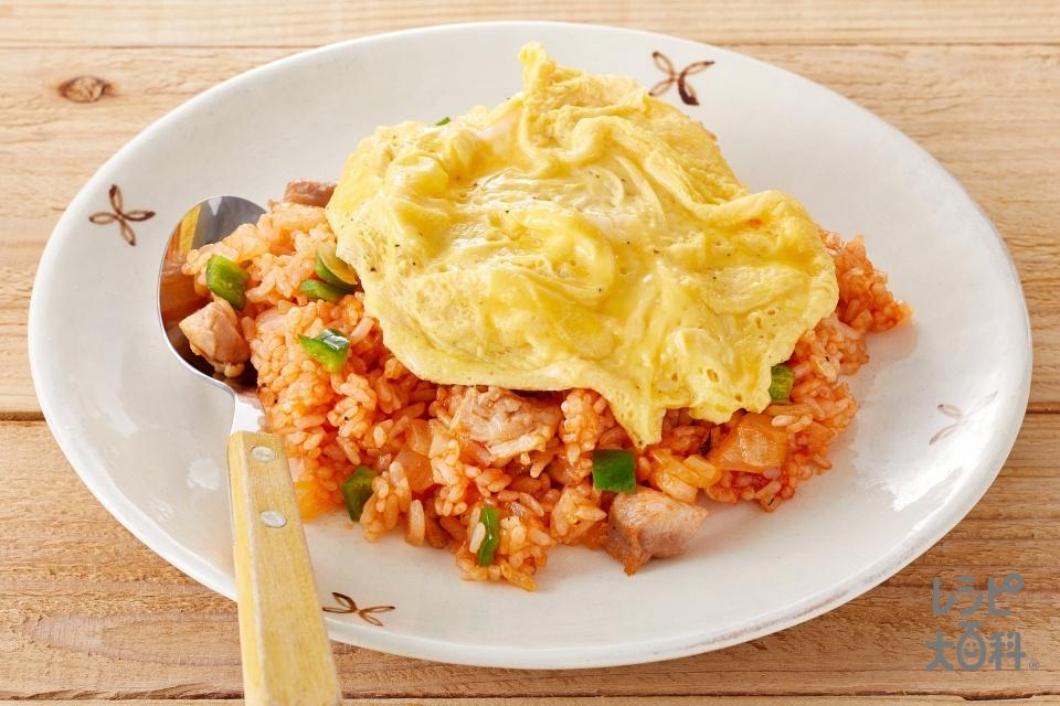 卵のせチキンライス(鶏もも肉+A「瀬戸のほんじお」を使ったレシピ)
