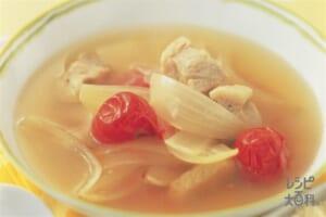 豚肉とミニトマトのオニオンスープ