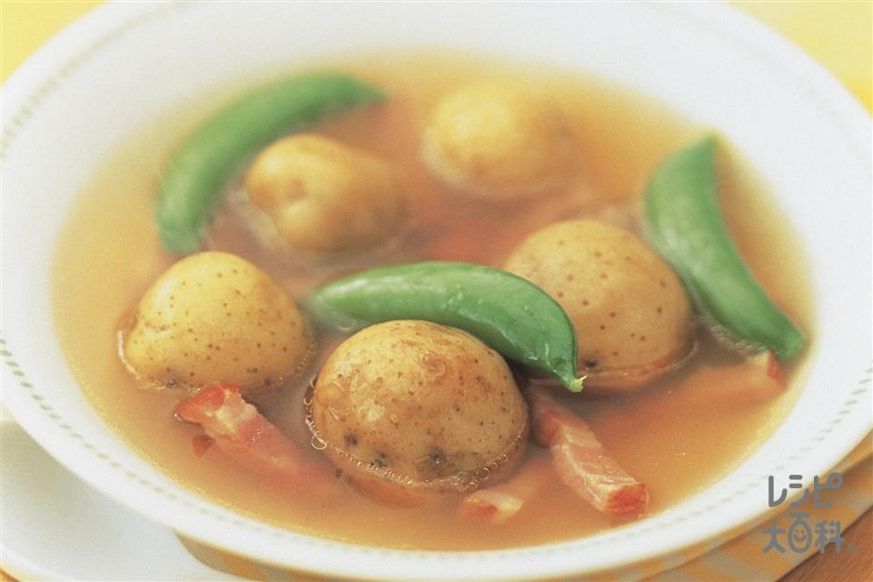 まるごと!新じゃがのスープ(新じゃがいも+厚切りベーコンを使ったレシピ)