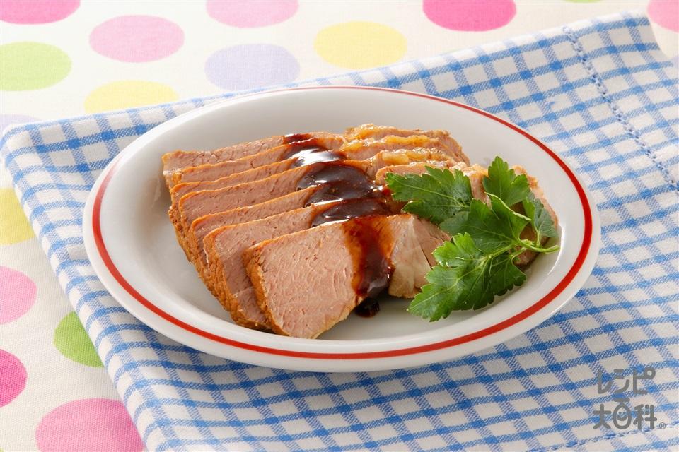 ソース味の洋風煮豚(豚肩ロース肉+りんごを使ったレシピ)