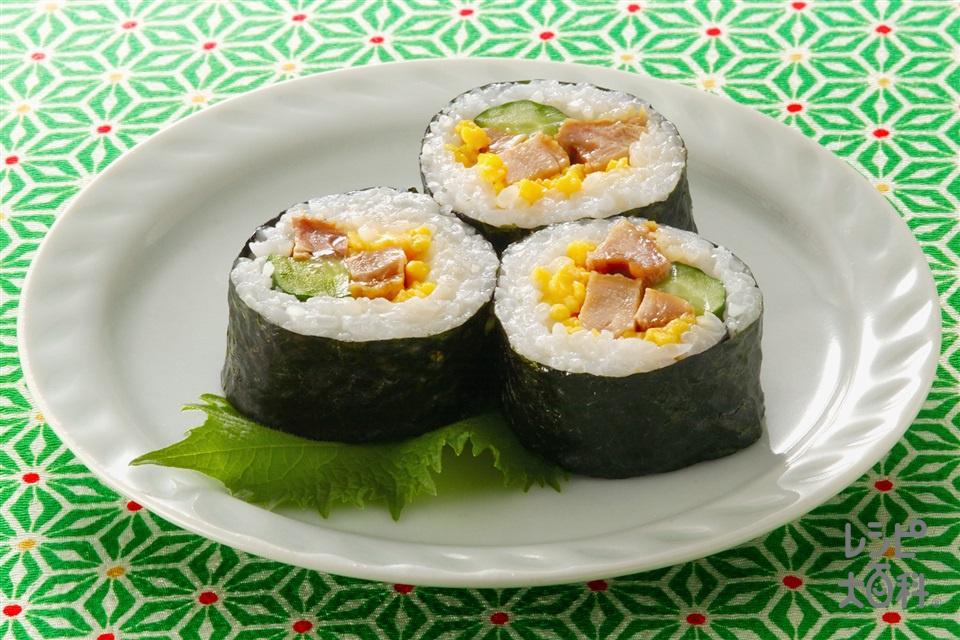 3色のり巻き(米+鶏もも肉を使ったレシピ)