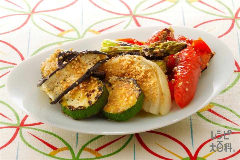 グリル野菜のごま風味(グリーンアスパラガス+パプリカ(赤)を使ったレシピ)