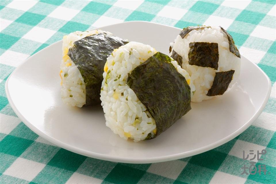 変わりおにぎり2種(米+みぶ菜の漬物を使ったレシピ)