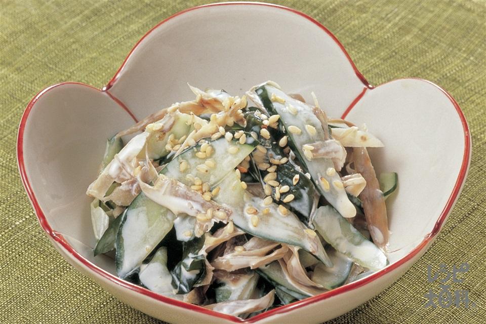 ささがきごぼうとわかめのさっぱりマヨ酢(ごぼう+きゅうりを使ったレシピ)