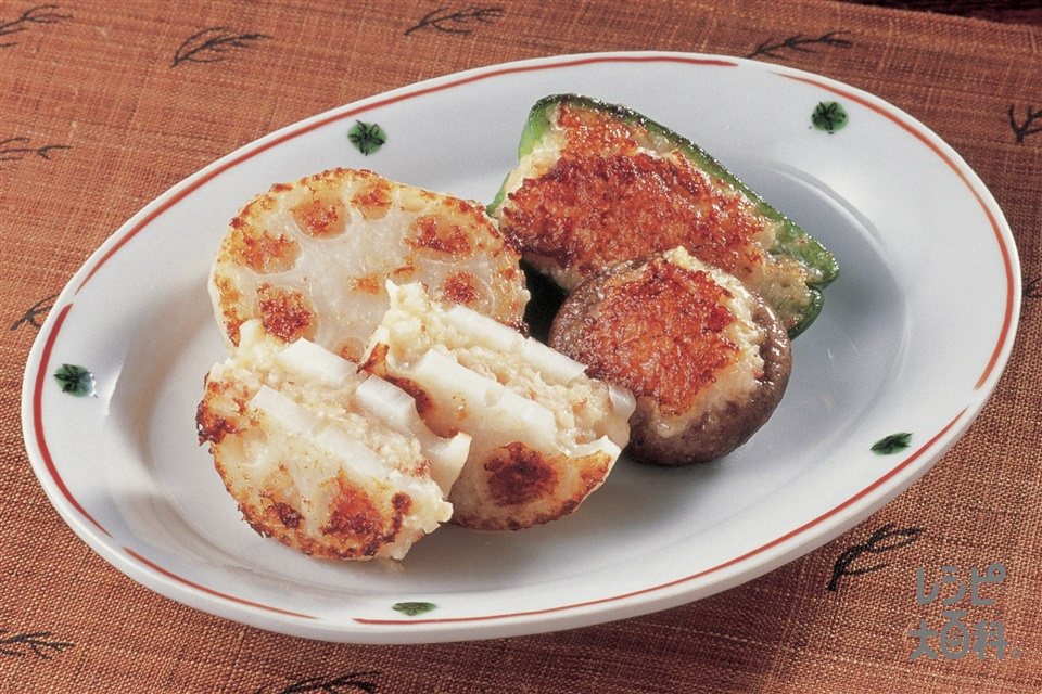 いろいろ野菜のえびタルタル風焼き(れんこん+むきえび(小)を使ったレシピ)