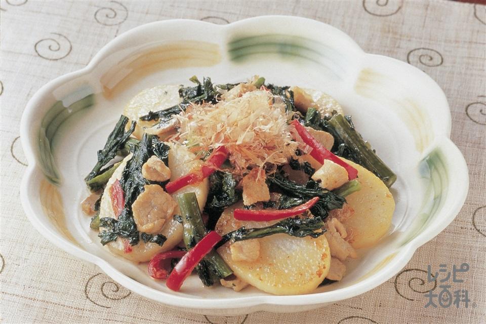 長いも、豚肉、春菊のマヨ炒め(長いも+春菊を使ったレシピ)