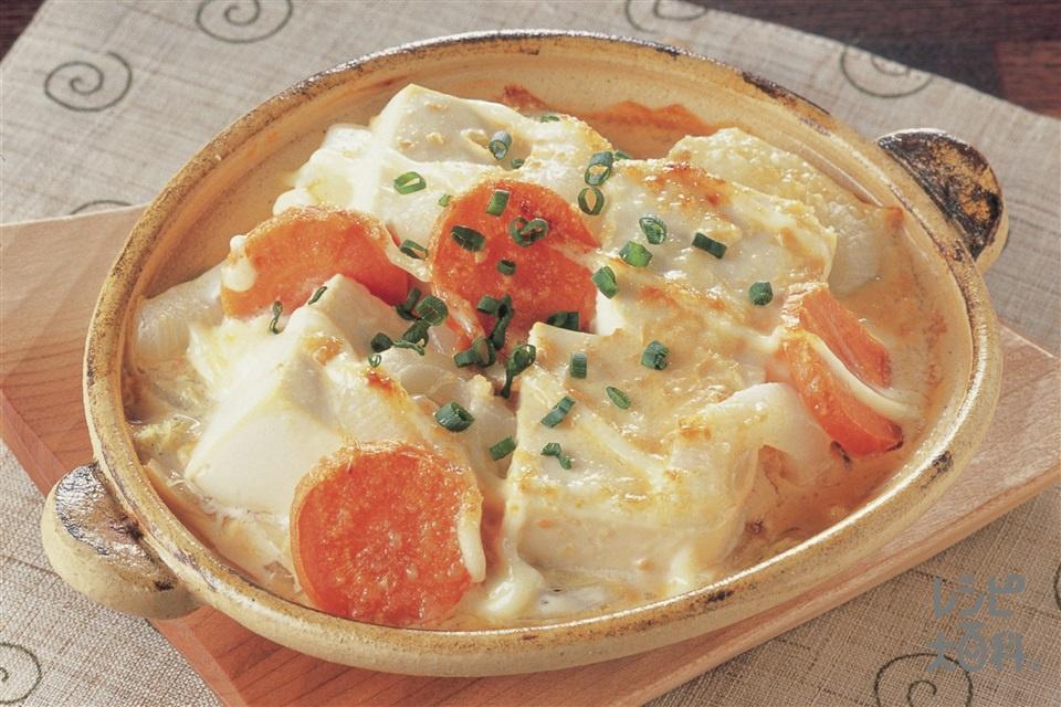 豆腐とたっぷり野菜のみそグラタン(絹ごし豆腐+白菜を使ったレシピ)