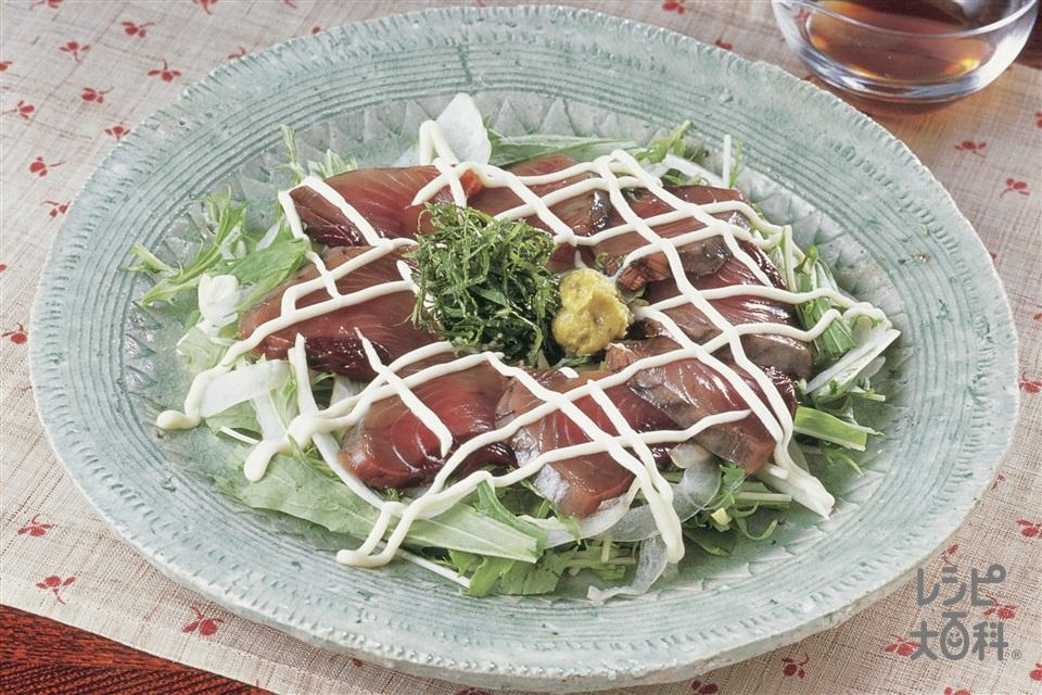 新鮮かつおの和風カルパッチョ(かつお+玉ねぎを使ったレシピ)