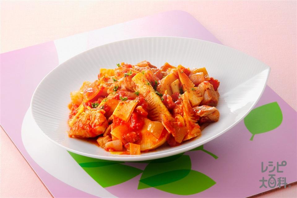 たけのこと鶏肉のトマト煮(ゆでたけのこ+カットトマト缶を使ったレシピ)