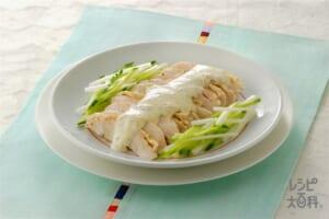 蒸し鶏の冷製 マヨネーズソース