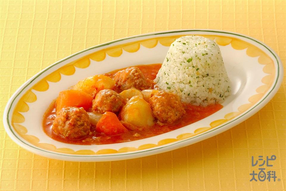ミートボールのトマト煮込み(じゃがいも+米を使ったレシピ)