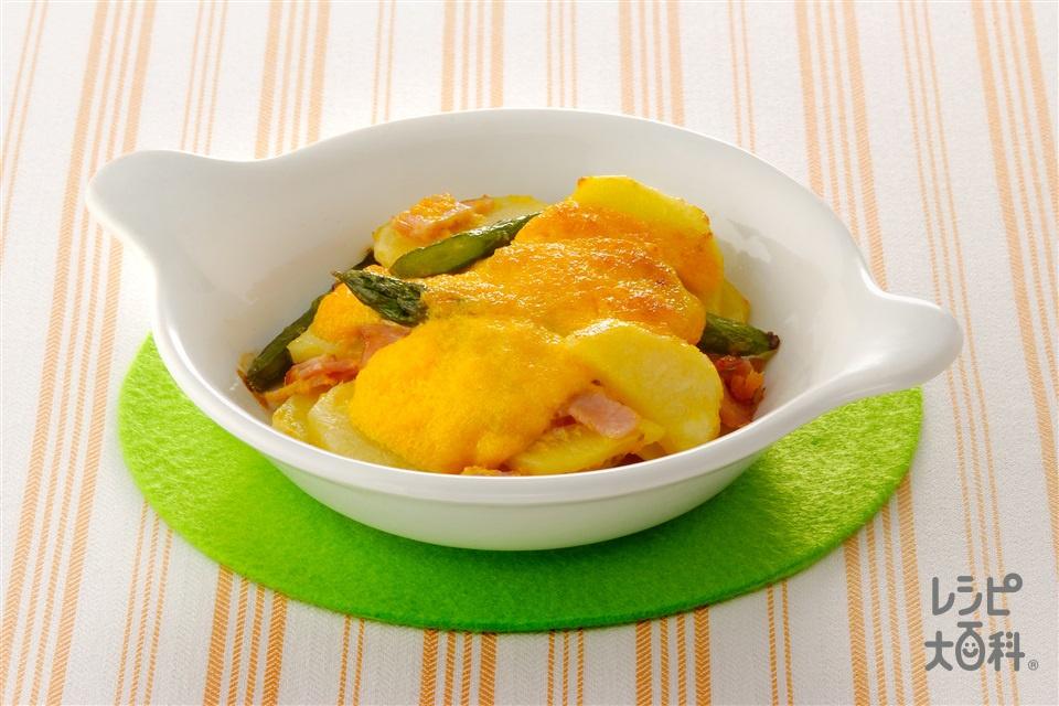 グリーンアスパラとじゃがいものもみじ焼き(グリーンアスパラガス+じゃがいもを使ったレシピ)