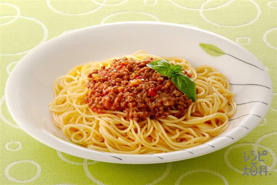 スパゲッティ ミートソース(ホールトマト缶+スパゲッティを使ったレシピ)