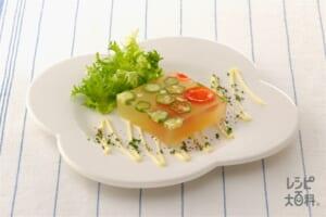 オクラとミニトマトのコンソメ寒天よせ(ミニトマト+エンダイブを使ったレシピ)