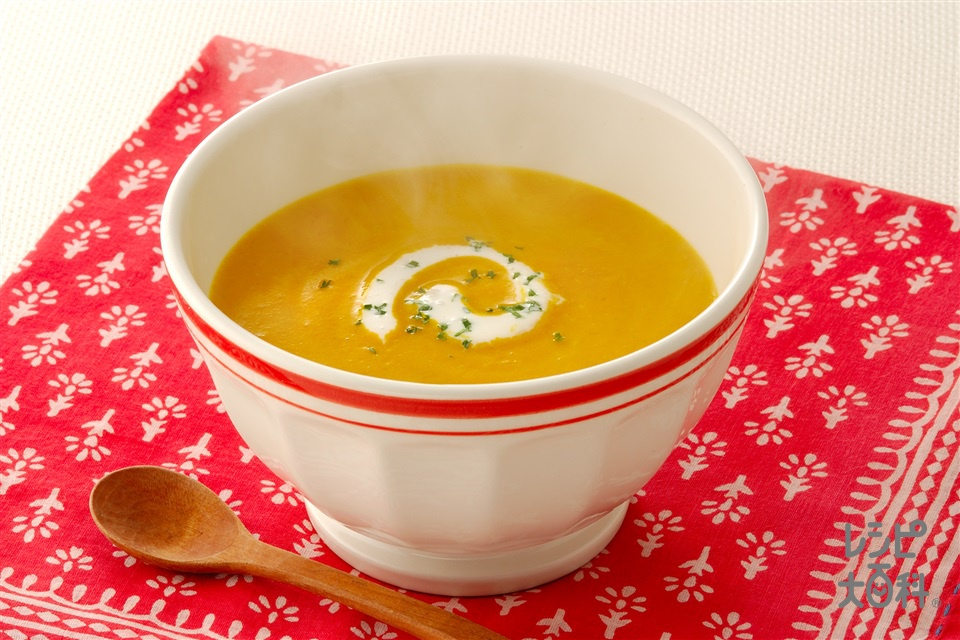 なめらかパンプキンカレースープ(かぼちゃ+玉ねぎを使ったレシピ)