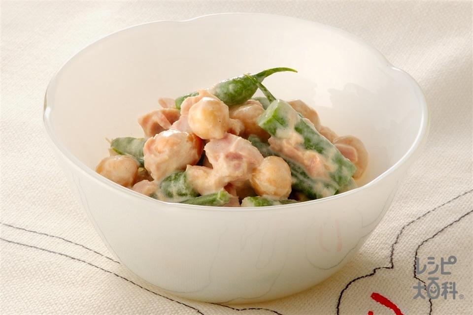ひよこ豆のサラダ(ひよこ豆(ゆで)+ツナ缶を使ったレシピ)
