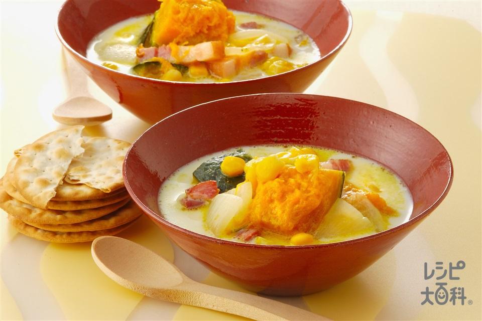 かぼちゃとベーコンのミルクスープ(かぼちゃ+玉ねぎを使ったレシピ)