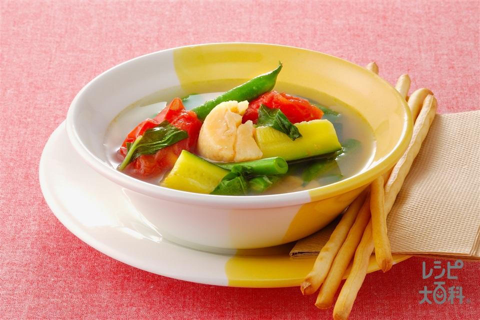 帆立とトマトのバジル風味スープ(帆立貝柱+「味の素KKコンソメ」顆粒タイプを使ったレシピ)