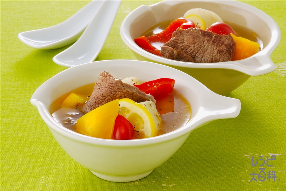 牛肉とカラーピーマンのレモンスープ(牛もも肉+じゃがいもを使ったレシピ)